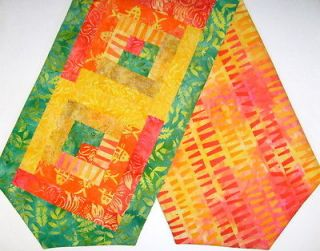 Galaxy Java Batik Patchwork PRE CUT Log Cabin Table Runner Kit CITRUS