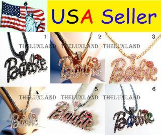 Shimmering Crystal Bling Nicki Minaj 3 BARBIE Necklace 6 Colors *BIG