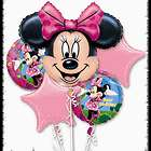MINNIE MOUSE 5 PIECE BALLOON BOUQUET, BRAND NEW + MINNIE WEIGHT
