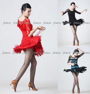 tango chacha ballroom dance dress top + skirt tassel dance costume
