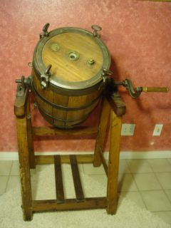 Butter Churn Wood Barrel Metal Hand Crank Country Farm Vintage Antique
