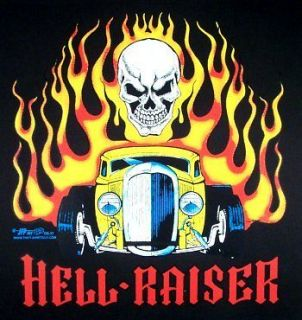 HELL RAISER STREET HOT ROD IN FLAMES SKULL T SHIRT DS37
