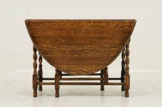 Antique Scottish Oak Barley Twist Gateleg, Drop Leaf Table