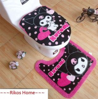Unique My Melody Kuromi Bath Mat & Toilet Seats Lid Cover + FREE SHIP