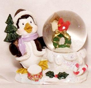 NEW PENGUIN & RED BIRD SNOW GLOBE Christmas Figurine Decoration Kids
