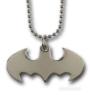 BATMAN DARK KNIGHT RISES 2012 BEGINS DIE CUT SILVER FINISHING NECKLACE