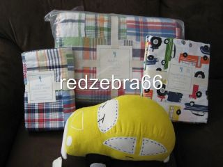Barn Kids Madras Twin Quilt+Sham+Transportation Sheet Set+Car Plush