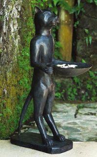 CAT BUTLER BIRD BATH ~ Bali Bronze Art Sculpture Statue~ 3 ft