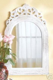 white wood frame arch top French wall mirror, mirrors