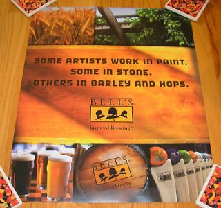 BELLS BREWING Cool Poster BARLEY AND HOPS ARTIST craft beer brewery