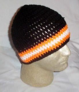 Hand Crochet ~ Mens Skull Cap Beanie Hat Harley Colors