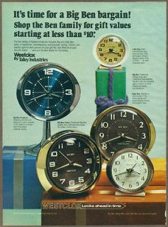 1977 print ad / magazine advertisement, Big Ben Clocks,