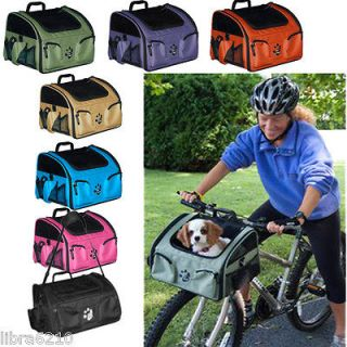 in 1 Bike Bicycle Basket Dog Cat Carrier Car Seat Travel Tote Pet