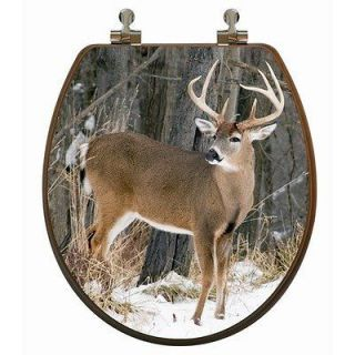 In Snow 3D Image Oak Wood Toilet Seat W/ Chrome Hinges Round Front