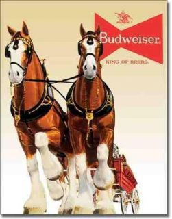 Budweiser Beer Sign Bud Clydesdale Team Horses Tin