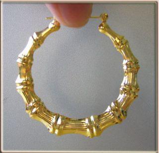 5cm Diameter Gold Bamboo Hoop Earrings