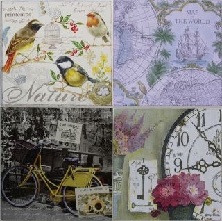 Vintage Shabby Chic Picture Plaque   Bird, French Bike, World Map