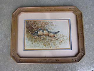 Vintage Home Interior Picture 3 Blue Birds on a Branch Under Glass