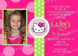 Pink Polka Dot Hello Kitty Birthday Party Invitations Personalized