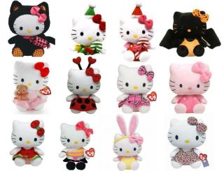 BEANIE BEANIES ~ CHOOSE YOUR 6 SOFT PLUSH HELLO KITTY TOY ***NEW