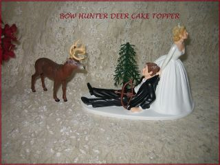 HUMOROUS WEDDING BIG BUCK DEER BOW & ARROW HUNTER HUNTING CAKE TOPPER