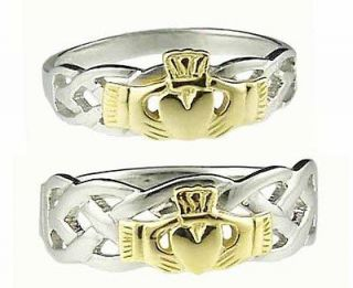 Gold Sterling Silver Celtic Claddagh Band Wedding Ring Set sz 10 r