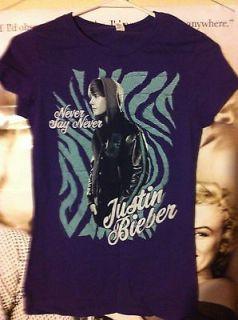 Juniors Purple & Blue Justin Bieber Never Say Never Tshirt Sz S/M