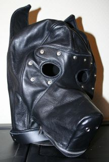 Real Leather Black Puppy Play Hood, Dog Mask, Blindfold, Zipper Muzzle