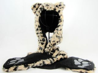 NWT FAUX FUR PLUSH 3D FULL ANIMAL HOOD 3 IN 1 HAT SCARF MITTEN LEOPARD