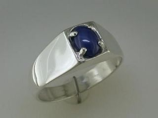 Mens Synthetic Blue Star Sapphire Ring 10kt White Gold