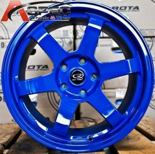 17X9 ROTA GRID FORK BLUE WHEELS 5X114.3 IK R RIMS +25MM FITS EVO 8 9