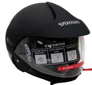MATTE/FLAT BLACK 3/4 OPEN FACE SCOOTER MOPED MOTORCYCLE HELMET ~SZ. M