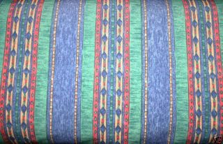 DESIGNER BLUE GREEN STRIPED AZTEC TYPE PRINT CURTAINS CUSHIONS FABRIC