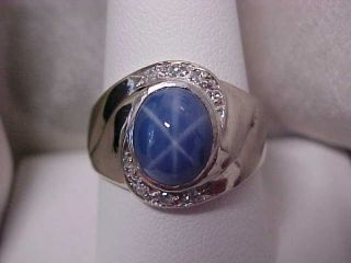 ESTATE*VINTAGE*MENS BLUE STAR SAPPHIRE & DIAMOND RING 14Kwg  sz9.75