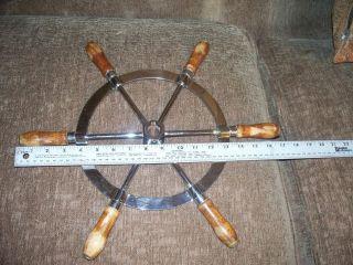 Navigation Nautical Maritime Boat Ship Steering Wheel; Metal & Wood