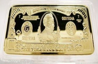 Troy oz Ounce 24K GOLD Layered $1000 Dollar Bill Bar .999 Fine