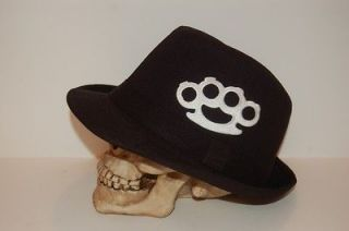 NEW BLACK BRASS KNUCKLE FEDORA HAT CAP BUCKET GOTH PUNK