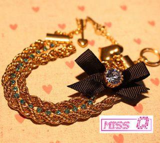 JOHNSON Aquamarine Crystal Arrow Bow Tie Bracelet *U.S Seller* GIFT