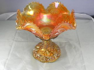 Twins, Marigold Carnival Glass, Candy / Fruit / Punch Bowl, STUNNING