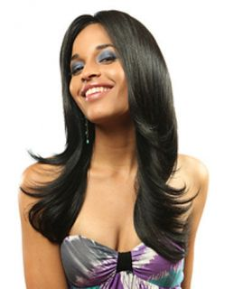 HQ TYRA ZURY LONG STRAIGHT HUMAN HAIR BLEND WIG
