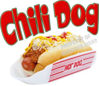 Chili Dog Hot Dog Decal 14 Concession Food Truck Van Stand Cart Vinyl