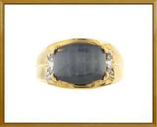 Mens 10K Solid Yellow Gold Star Sapphire & Diamond Ring