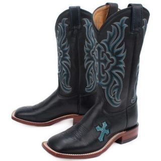 Tony Lama TC1004L Black w/ Turquoise Cross Arena Series Cowboy Boot