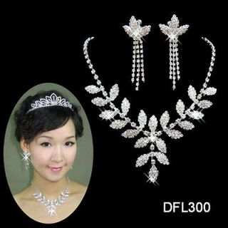 Wedding Bridal Bridesmaid Party crystal necklace earring jewelry set