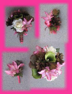Hot Pink Mossy Oak Wedding Bouquets, Camo Bouquets