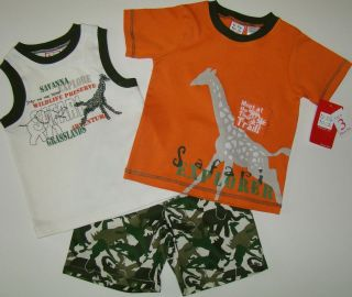 NWT Boys Orange Camo Safari 2 Shirts/Shorts BABY TOGS Sz 3T