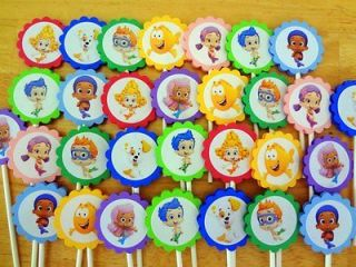 30 BUBBLE GUPPIES inspired BIRTHDAY PARTY FAVORS cupcake toppers