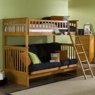 Twin Bunk Bed with Futon   Loft Bunkbed Kids Girls Boys
