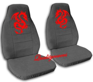 COOL SET RED FLYING DEVIL DRAGON FRONT CAR SEAT COVERS CHARCOAL,REAR
