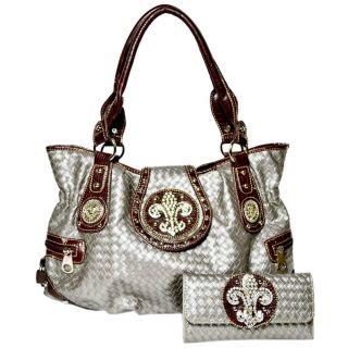 western cowgirl rhinestone fleur de lis shoulder bag with matching